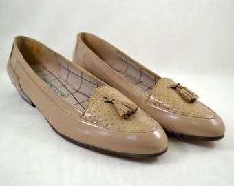 1980s Cappagallo Designer Flats / Made in Spain / Tan Tassel Flats