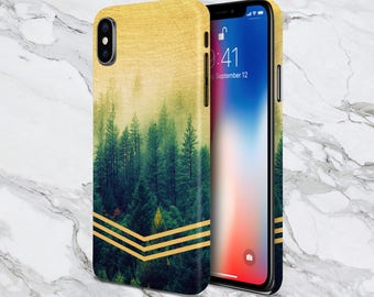 iPhone X Phone Case - iPhone 8 Plus case - Protective Case - Galaxy s8 case - Samsung Case - Golden Forest Chevrons x Faded Wood - Nature