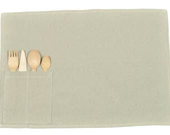 52X40cm PLACEMAT + covered wooden Pastel linen fabric