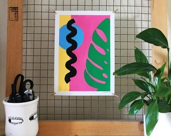 A4 ORIGINAL gouache illustration, abstract painting, unique artwork, contemporary painting