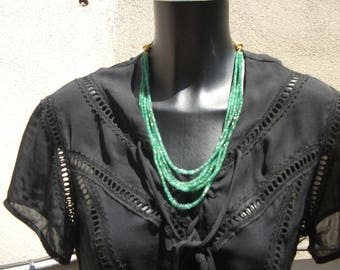 Necklace 5 rows of AAA genuine emeralds.