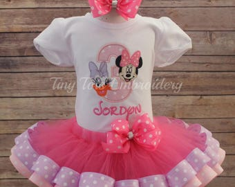 Happy Helpers Birthday Outfit ~ Minnie Daisy Duck Tutu Outfit ~ Includes Top, Ribbon Tutu and Hair Bow ~ Customize in Any Colors!