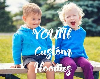 UNISEX YOUTH CUSTOM design hoodies - pull over and zip fleece -