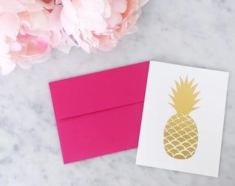 Gold Foil Pineapple Card - Gold Foil Card - Calligraphy Foil Card - Calligraphy Card - Greeting Card - Wedding Card - Pineapple Card