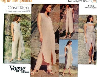 SUMMER SALE 1990s Vogue 1146 Calvin Klein Summer Wardrobe Sewing Pattern American Designer Dress Top Skirt Pants Top Scarf Size 12 Bust 34 U