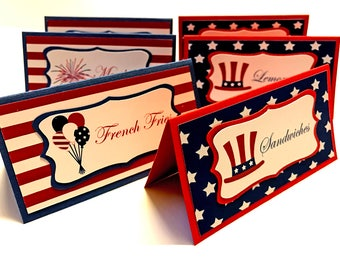 12 4th of July Food Labels, fourth of july, July 4 Place cards, 4th of July party decorations,  independence day party, red white blue