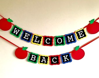 Welcome Back Banner, Welcome Banner, First Day of School, Teacher Banner, Classroom Banner, Back To School Decor,  Sign, Apple Photo Prop