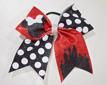 "7"" Minnie Mouse Glitter Cheer Bow Disneyland Disney World Disney Cruise Outfit Hair Accessory"
