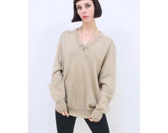 MENS - Vintage - 1990's - Retro - Beige - WARM - Soft - Comfy - Pure - WOOL - Jumper - Sweater - Pullover - L- Large