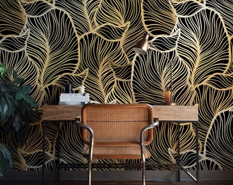 Solid gold Leaf Wallpaper, Exotic leaves Wallpaper, Baroque style Wall  Mural, Home Dcor