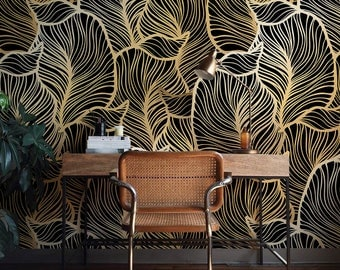 Solid Gold Leaf Wallpaper Exotic Leaves Baroque Style Wall Mural Home Dcor