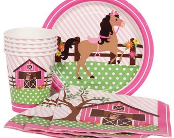32 Pc Set Sweet Playful Pony - Service For 8! Adorable For Little Ones Birthday Party - Includes Table Cover & Balloons!