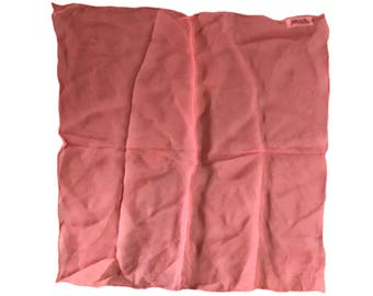"""Saks Fifth Avenue VTG 1960s Coral Small Pure Sheer Silk Scarf - 16.5"""""""