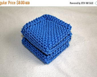 10% OFF SALE Knit Dish Cloth, Set of 2, Blue Knit Dish Cloth, Blue Knit Wash Cloth