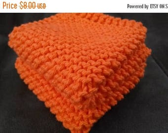 10% OFF SALE Orange Knit Dish Cloth, Orange Knit Dishcloth,  Orange Knit Wash Cloth, Set of 2