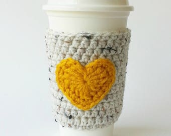 Crochet Coffee Cup Sleeve - Staff Appreciation - To Go Cup Sleeve - Reusable Coffee Sleeve - Heart Cozy - Valentines Gift