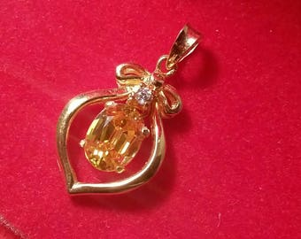 Gold Citrine & Diamond Pendant