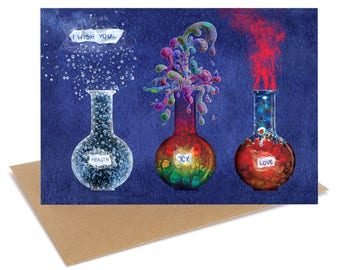 I wish you health joy and love Greeting card FREE SHIPPING Love Anniversary Valentines Card chemistry science laboratory geek sci fi ruta13