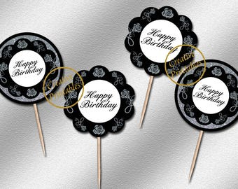 Instant Download, Black and Silver Cupcake Toppers, Party Circles, Printable Cupcake Toppers, Elegant Party Ideas