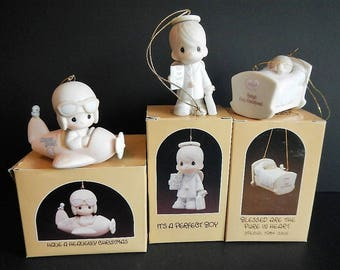 Vintage Precious Moments Figurine -CHOICE - Heavenly Christmas, A Perfect Boy, Blessed Are Pure in Heart, pilot, baby, holiday, ornament