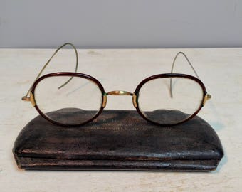 Antique Windsor Style Eyeglasses / Spectacles / 1880's – 1920's / Celluloid Rim Eyeglasses /Original Case / Vintage
