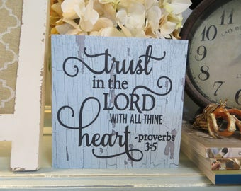 """Wood Religious Sign, """"Trust in the Lord With All Thine Heart"""", Proverbs 3:5, Inspirational Christian Scripture"""