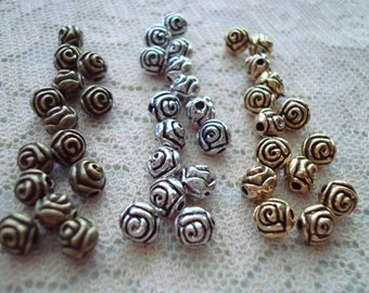 40 Beautiful Pewter Rose Spacers. 3 Colors 5x5.5mm High Definition Heavy Rose Spacers. Deep Antiquing. Gold, Bronze, & Silver USPS ShipRates
