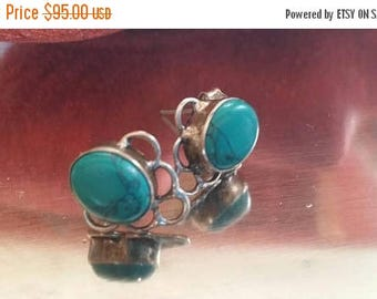 Holiday SALE 85 % OFF Turquoise Stud Post Earrings Gemstone  .925 Sterling  Silver