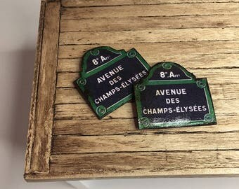 Miniature Dollhouse Tin Signs - Avenue Des Champs Elysees