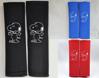 1 PAIR (2 pieces) Peanuts Snoopy Embroidery Seat Belt Cover Cushion Shoulder Harness Pad