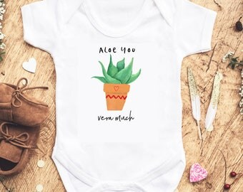Aloe You Vera Much - Funny Plant Pun Kids' Gender Neutral Clothing Plant Pun Newborn Babies Gifts For Mommy-to-be Funny Saying Baby Shower
