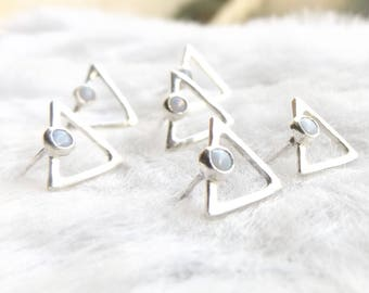 Opal earrings- Triangle earrings- Opal triangle studs- Tiny triangle studs- October birthstone- Ethical jewellery- Unusual earrings- Gift