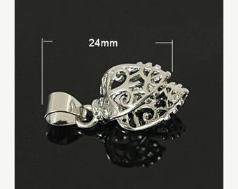 SUPER SALE 24mm Silver Pinch Bail, Bail Connector,  (1), Silver Finding, Connector for Pendant, Fancy Silver Bail, Filigree Silver Bail
