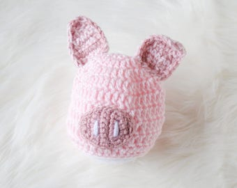 Pig Hat for Baby, Take Home Baby Hat, Newborn Hat, Newborn Pig Hat, Baby Halloween Costume, Knit Pig Hat, Baby Costume, Pig Hat, Pink Hat
