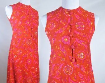 60s Wool Shift Dress by Marek New York in Bright Blood Orange Pink and Mustard Paisley Print Size XS