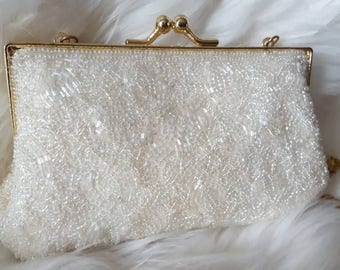 White Beaded Purse/Vintage Evening Bag/ Small beaded purse