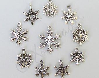 Snowflake Charms 10PCs Mix - 10/20/50 Wholesale Antiqued Silver Plated Winter Pendants CM0236
