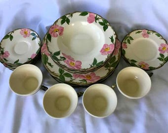 "Vintage Franciscan ""Desert Rose"" 20 Piece Dinnerware Set - Made in USA - 1941 to 1958"
