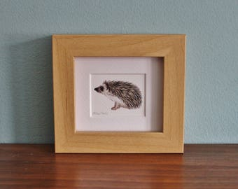Hedgehog Watercolour Painting - Animal - Framed Giclee print - Nature Art Poster - Picture and gift for the home - Mini Frame