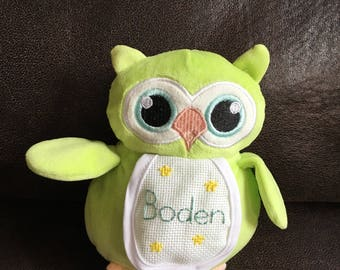 Baby stuffed animal toy, hand embroidered--custom made--personalized--owl, bear or duck
