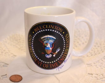 "Vintage ""Bill Clinton 42ND President of the United States"" Mug Signed Presidental"