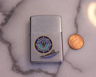 "Vintage ""USS Newport News US Atlantic Fleet"" Zippo Lighter Navy Lighter, Decommissioned 30 June 1975"