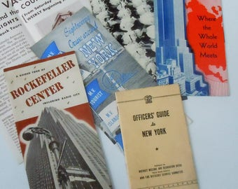 New York City / Vintage Officers Guide and Handful of Pamphlets / 1940's / Rockfeller / Radio City / Empire State Building