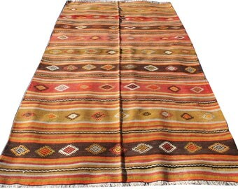 Handwoven vintage Turkish Kilim (160*290cm, 5'2*9'5) hand spun wool Tribal Simple