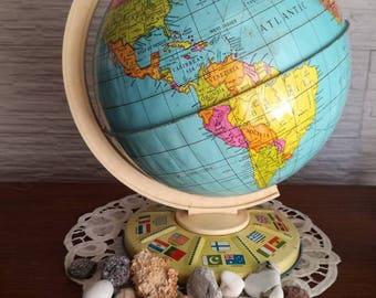 Globe tin-old globe-globe vintage- world map English-Chad Valley globe