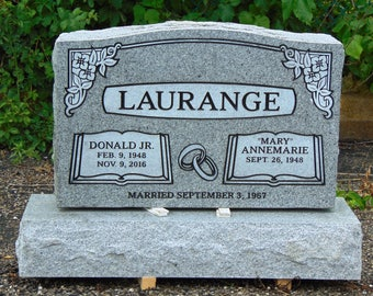 "Cemetery Granite Headstone 30 x 6 x 20""  gray companion monument engraving included"
