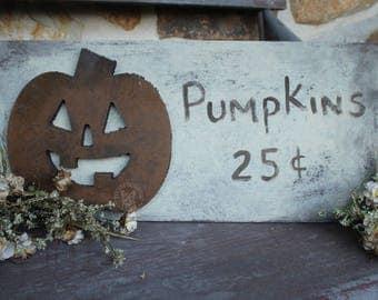 Wooden Pumpkin Sign - Fall Decor - Halloween Decor