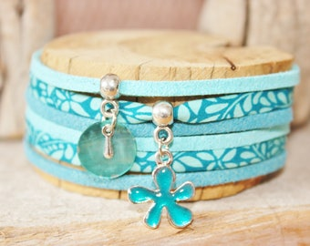 "Good luck charm bracelet ""Bloom"" turquoise"
