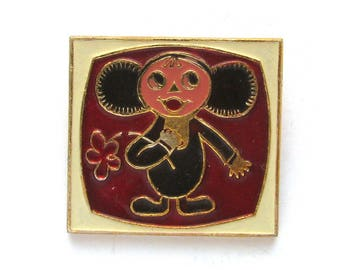 Cheburashka in TV set, Character from soviet cartoon, Vintage collectible badge, Soviet Vintage Pin, Vintage Badge, Made in USSR