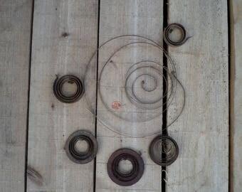 6 rusty crusty metal springs industrial steampunk assemblage